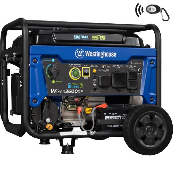 WGen3600DF 4,650/3,600 Watt Dual Fuel Gas or Propane Powered RV-Ready Portable Generator with Remote Start and Wheel Kit