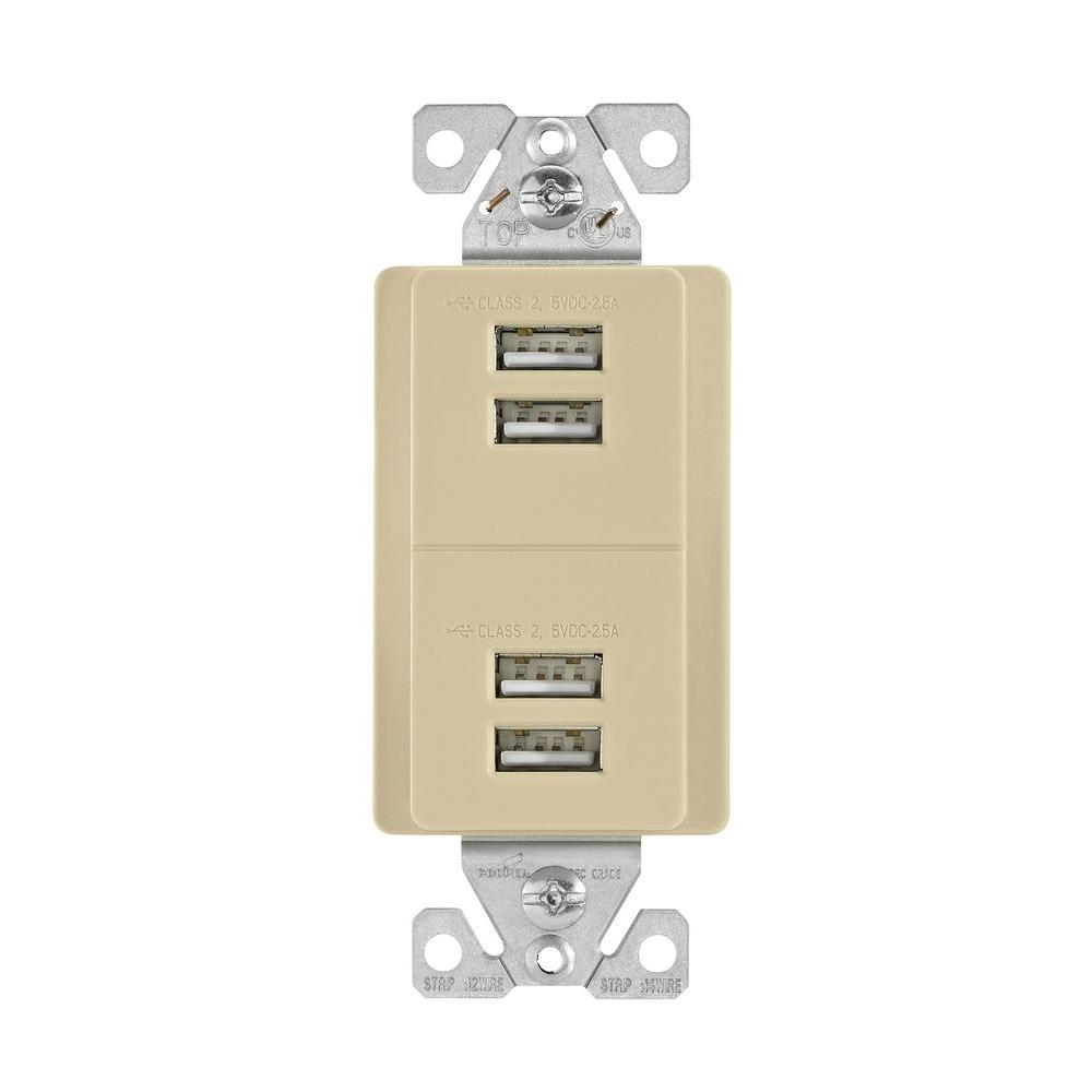 5.0 Amp 5-Volt DC USB Charging Station in Ivory