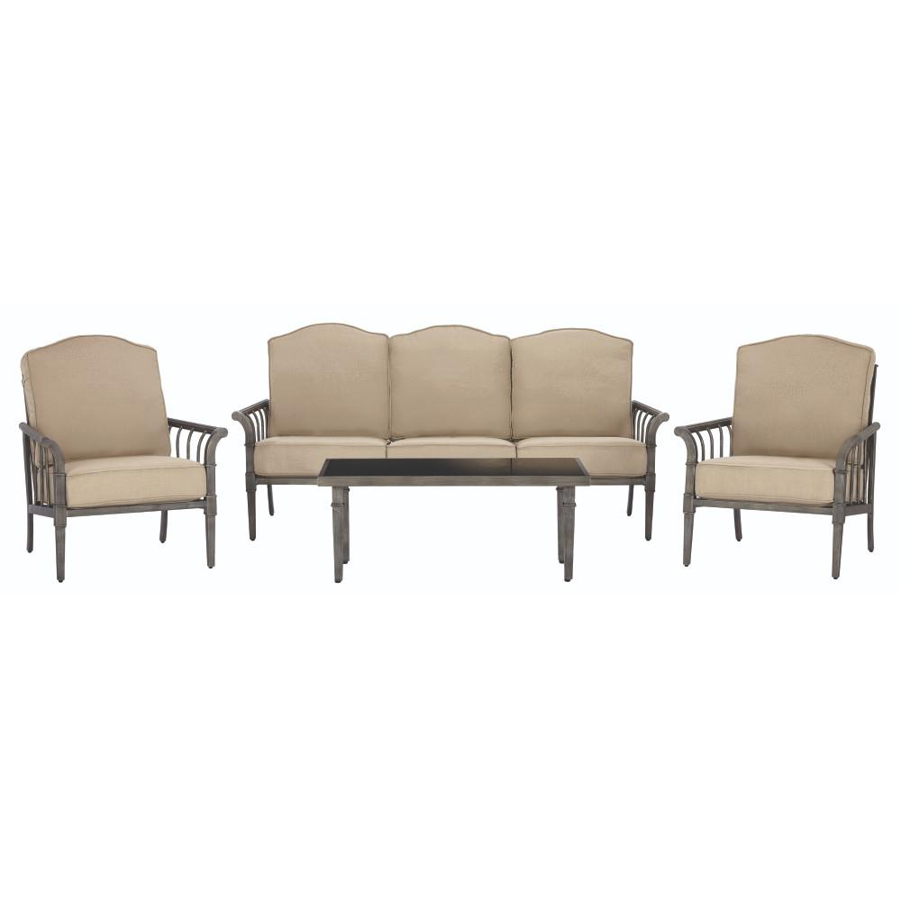 Home Decorators Collection Chesterfield Park All Weather Metal Deep Seating  Set with Beige Cushions  4 Piece  9866200810   The Home Depot. Home Decorators Collection Chesterfield Park All Weather Metal