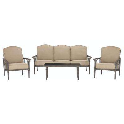 Chesterfield Park All-Weather Metal Deep Seating Set with Beige Cushions (4-Piece)