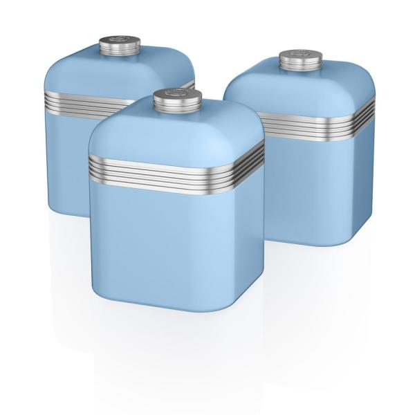 Retro 3-Piece Blue Stainless Steel Canisters