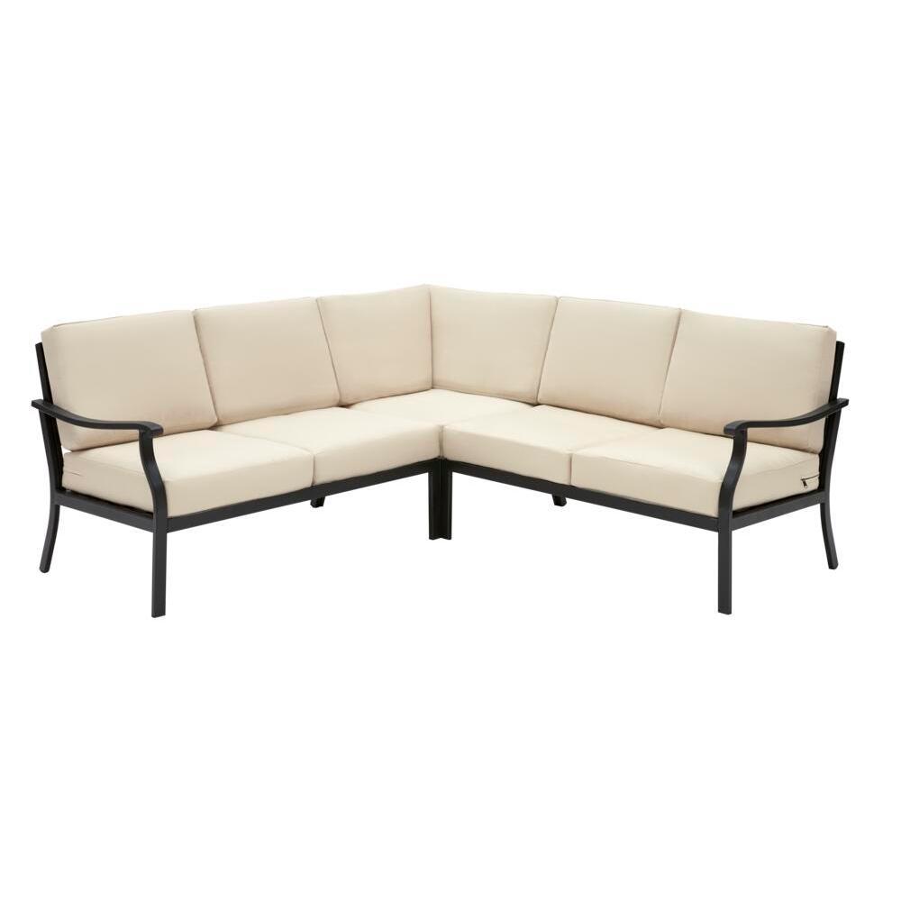 Riley 3-Piece Black Steel Outdoor Patio Sectional Sofa with Sunbrella Beige Tan Cushions