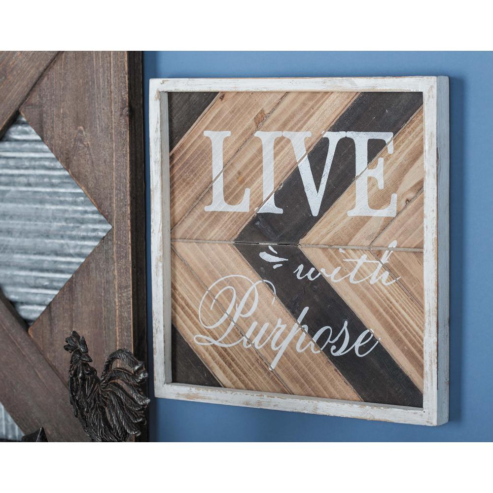 12 in. x 12 in. Wooden Chevron-Patterned Wall Signs (Set of