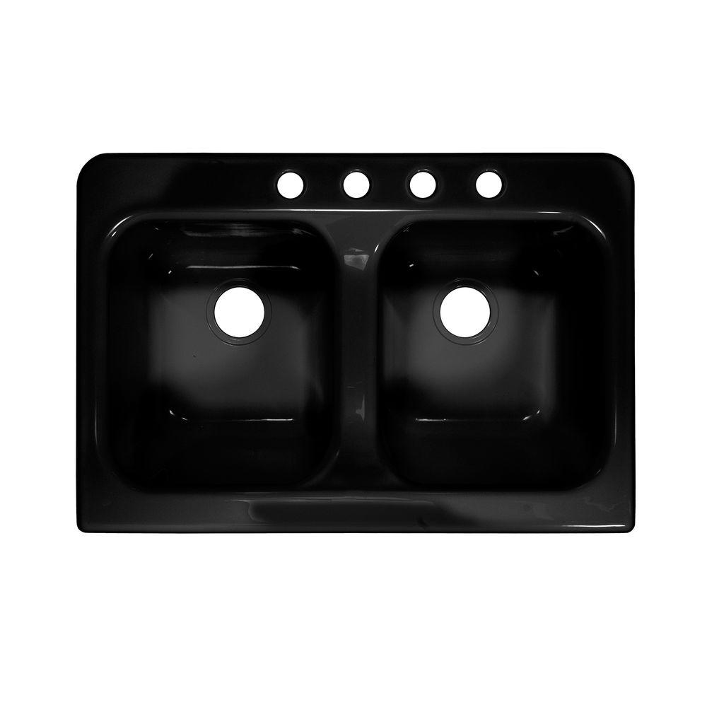Lyons Industries Apron Drop-In Acrylic 34 in. 4-Hole 50/50 Double Bowl Kitchen Sink in Black