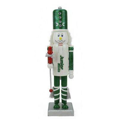 14 in. Green and White Junior Mints Wooden Christmas Nutcracker