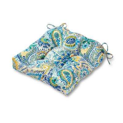 Painted Paisley Baltic Square Tufted Outdoor Seat Cushion