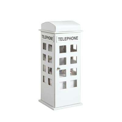 11.5 in. British Telephone Booth White Leather Jewelry Box