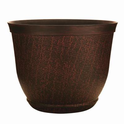 Cronus 17.5 in. Dia  Hot Coal Resin Planter