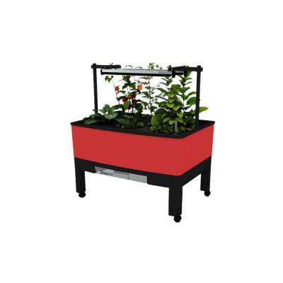 World Garden 33.5 in. x 24.25 in. x 23 in. Red In/Outdoor Self Watering Garden with T5 Light, Timer, BPA-free