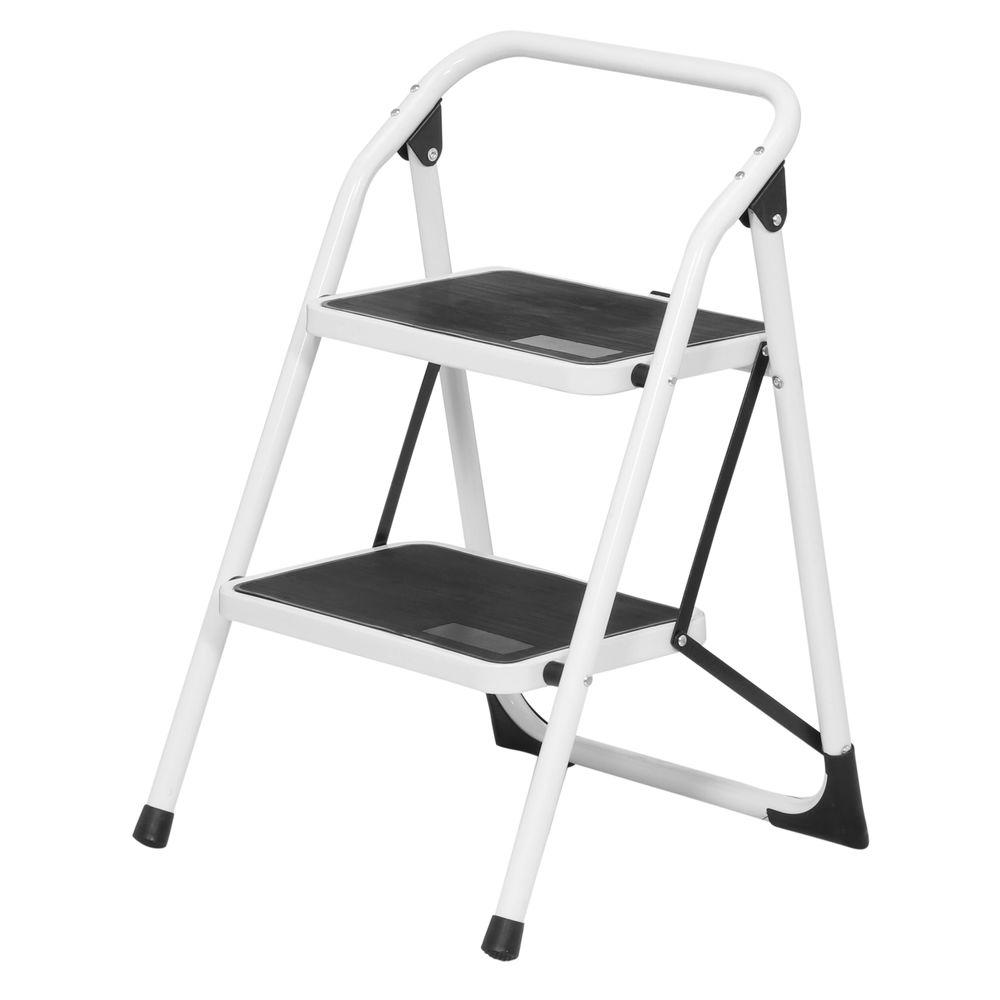 2-Step Steel Utility Ladder with 300 lb. Load Capacity