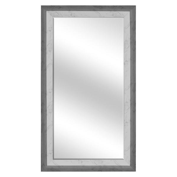 Large Rectangle White Marble W/ Black Beveled Glass Contemporary Mirror (55.5 in. H x 31.5 in. W)