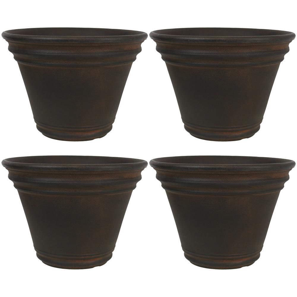 13 in. Rust Stewart Resin Outdoor Flower Pot Planter (4-Pack)