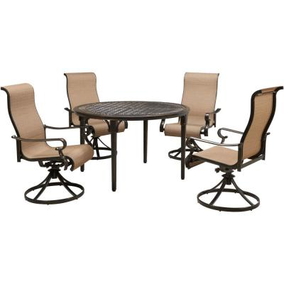 Brigantine 5-Piece Aluminum Outdoor Dining Set with 4 Sling Swivel Rockers and a 50 in. Round Cast-Top Table