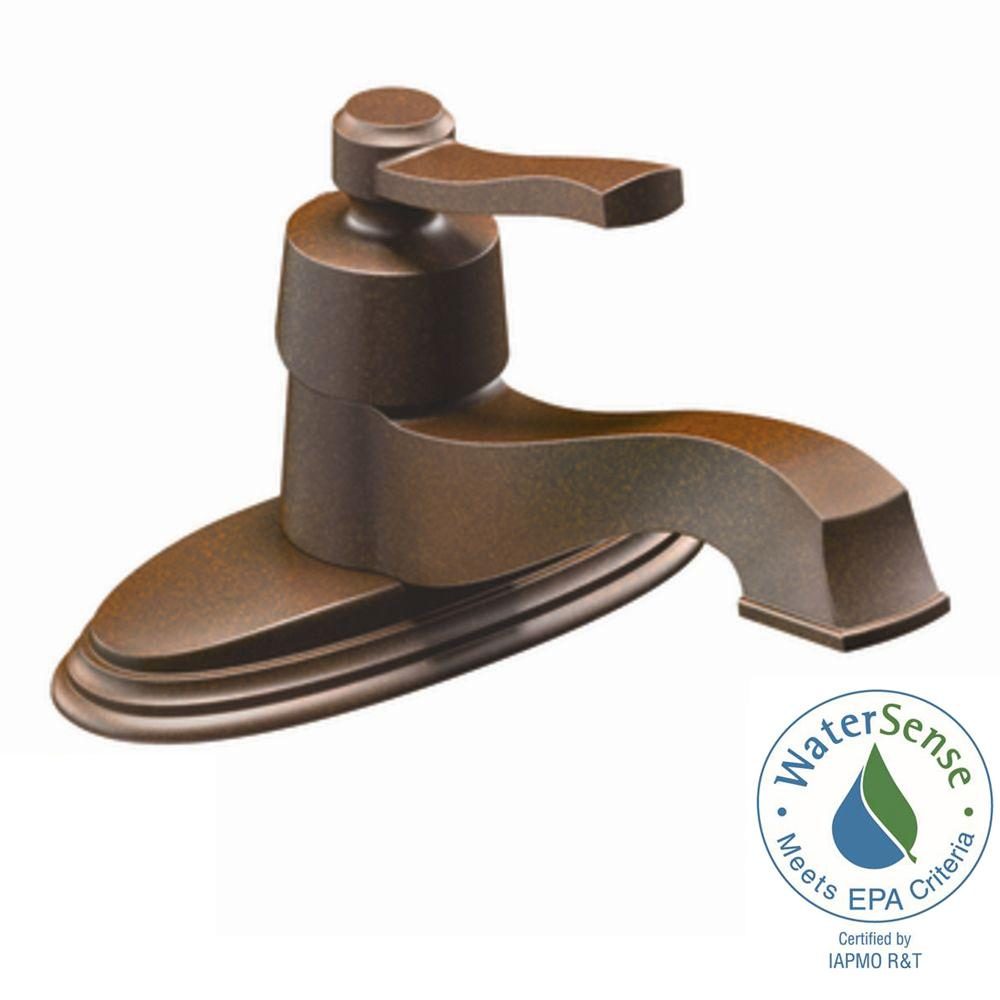Moen Rothbury Single Hole Single Handle Low Arc Bathroom Lavatory Faucet In Oil Rubbed Bronze