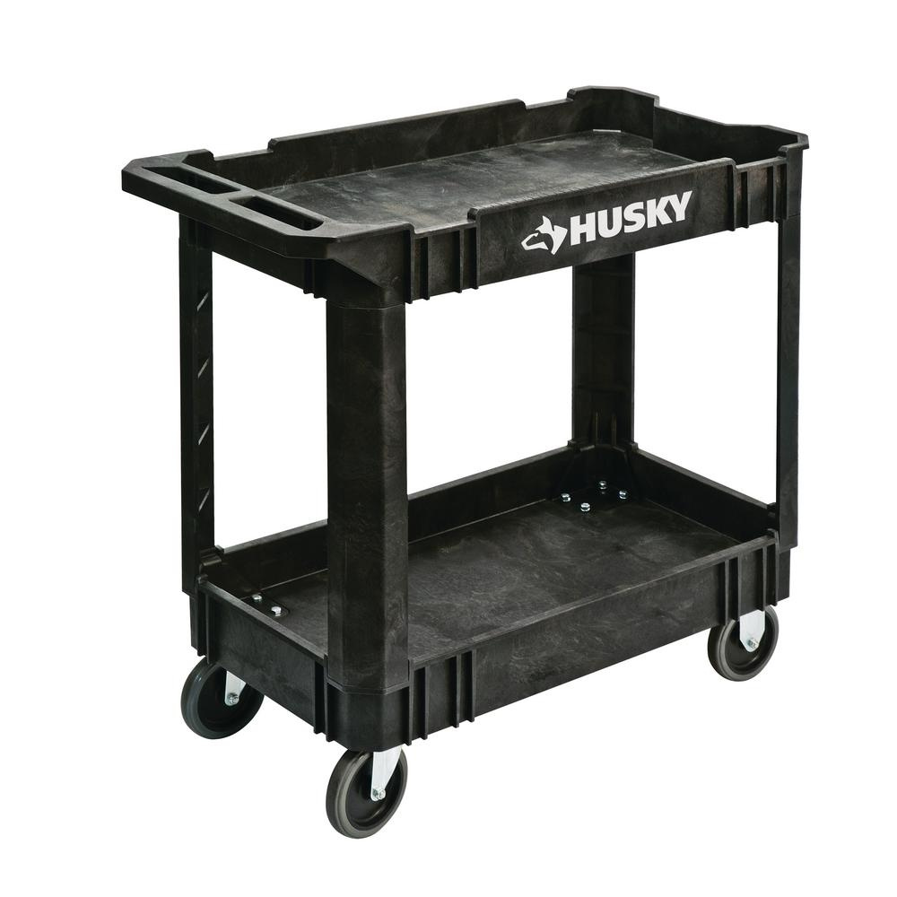 Husky 2 Tier Plastic 4 Wheeled Service Cart In Black 12603 The Home Depot