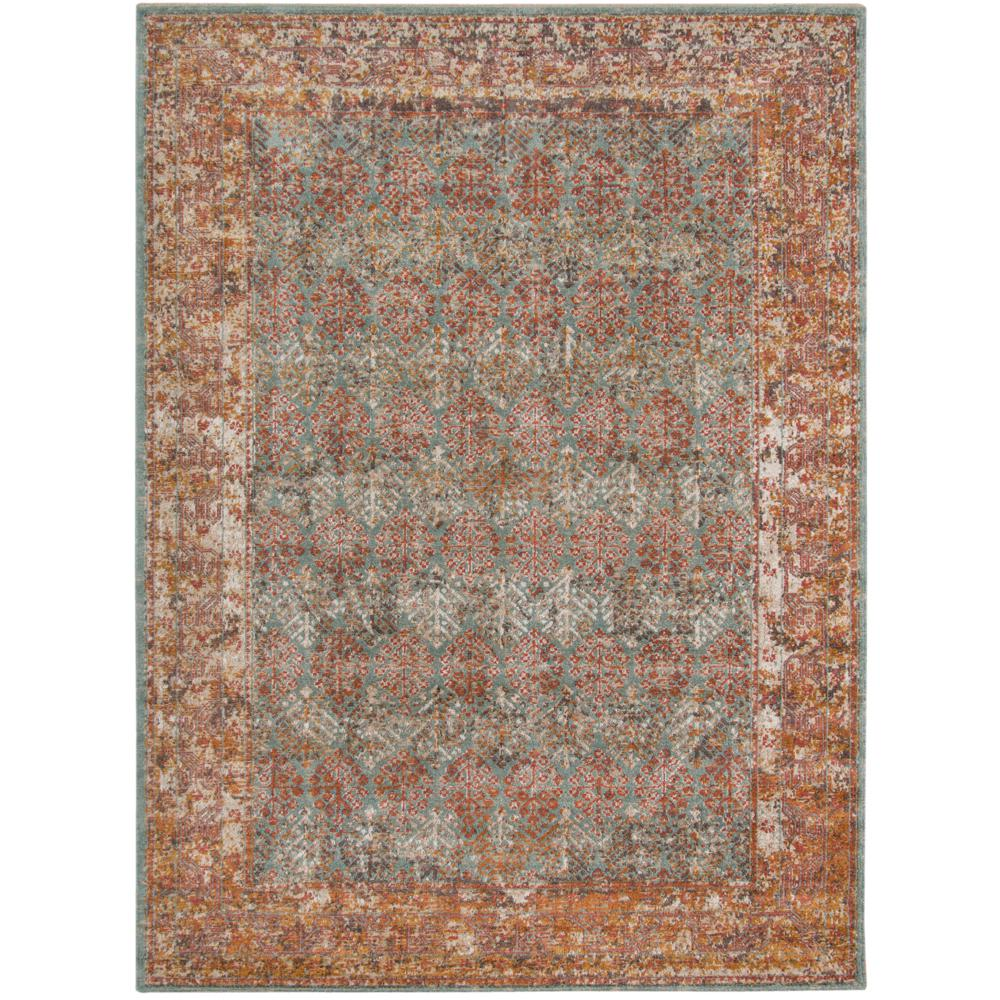 Amer Rugs East Ellington Turquoise Bordered 5 Ft 7 In X