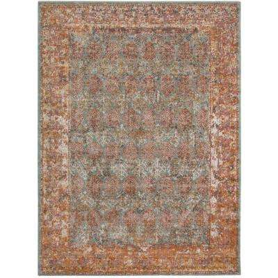 East Ellington Turquoise Bordered 5 ft. 7 in. x 7 ft. 6 in. Area Rug