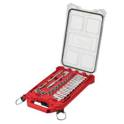 3/8 in. Drive SAE Ratchet and Socket Mechanics Tool Set with Packout Case (28-Piece)