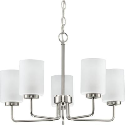 Merry  5-Light Brushed Nickel Etched Glass Transitional Chandelier Light