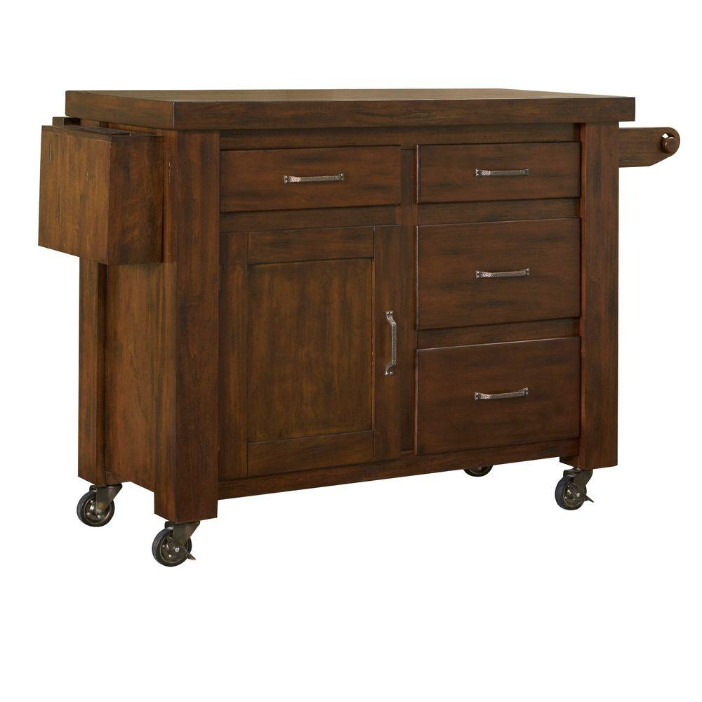 Home Styles Cabin Creek Distressed Chestnut Drop Leaf Kitchen Work Center