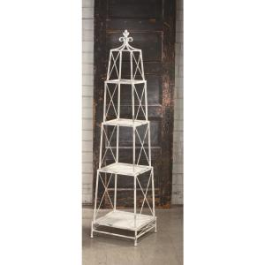 White Distressed 4-Tier Etagere Open Bookcase by