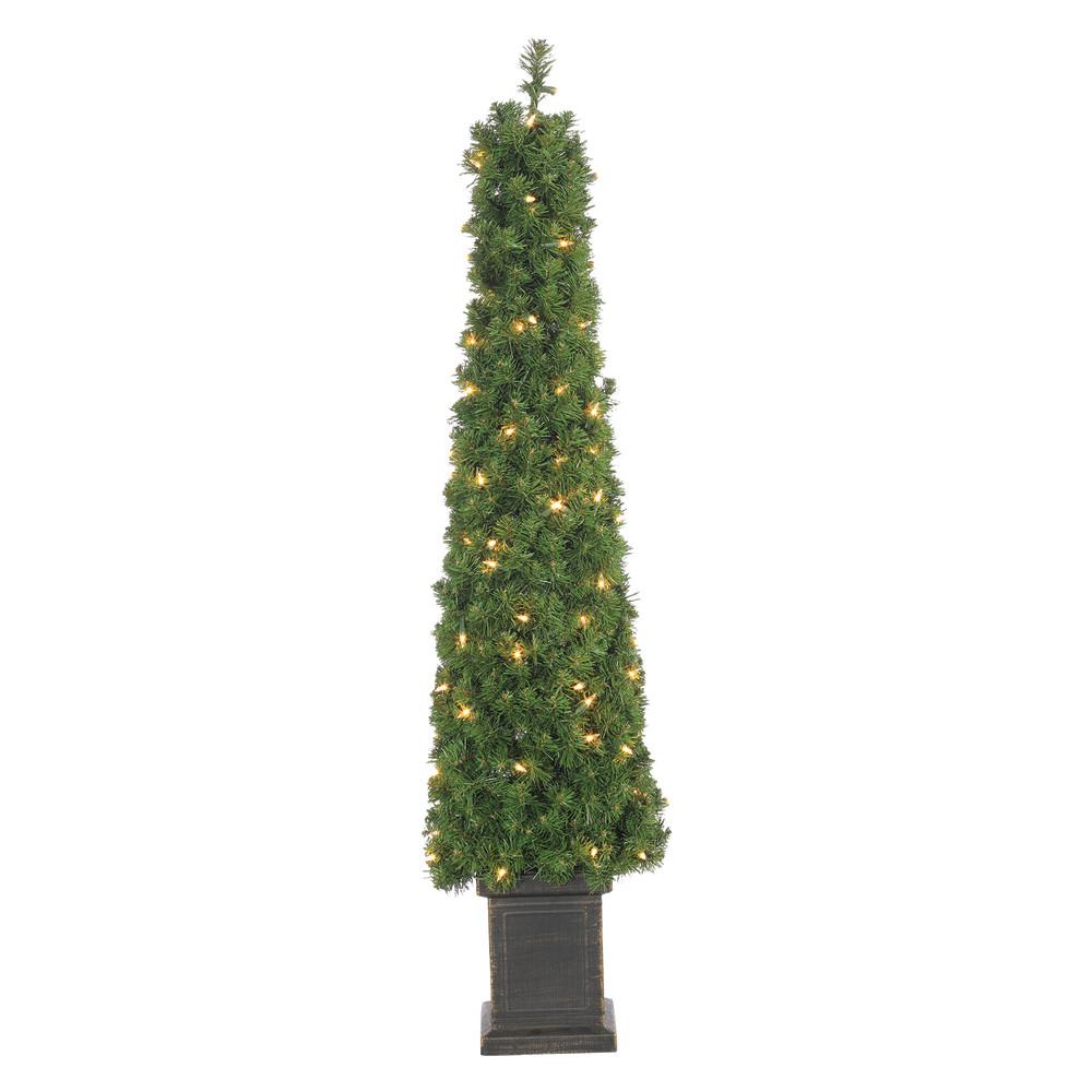 STERLING 4 ft. Pre-Lit Potted Tower Artificial Christmas Tree with ...