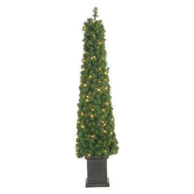 4 ft. Pre-Lit Potted Tower Artificial Christmas Tree with Round Tips