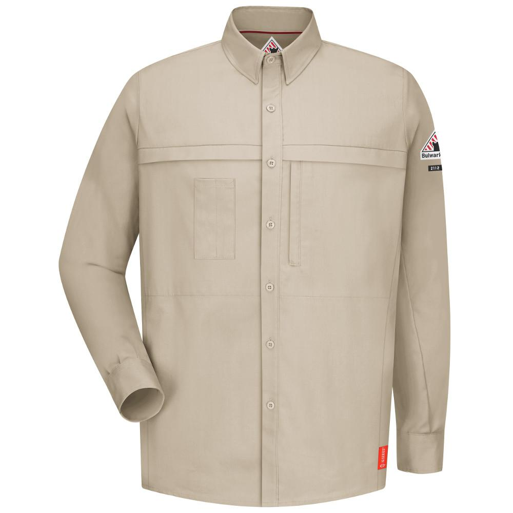 218c630736a Bulwark IQ Men s Large Light Tan Long Sleeve Concealed Pocketed ...