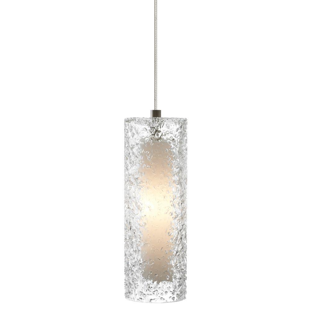 Mini-Rock Candy Cylinder 1-Light Satin Nickel Xenon Mini Pendant with Clear