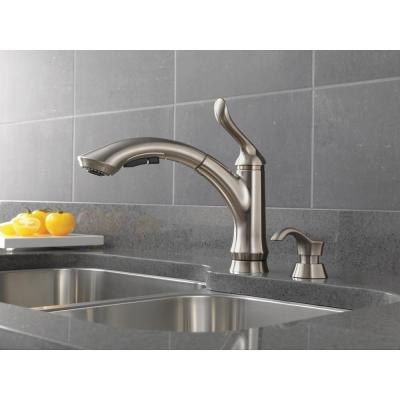 Linden Single-Handle Pull-Out Sprayer Kitchen Faucet with Soap/Lotion Dispenser in Stainless Steel