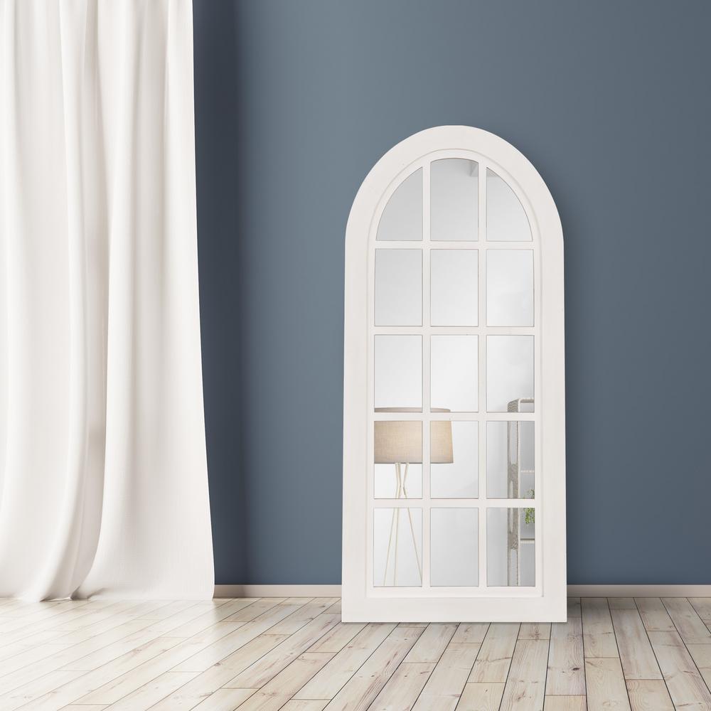 Patton Farmhouse Arch Windowpane White Decorative Mirror