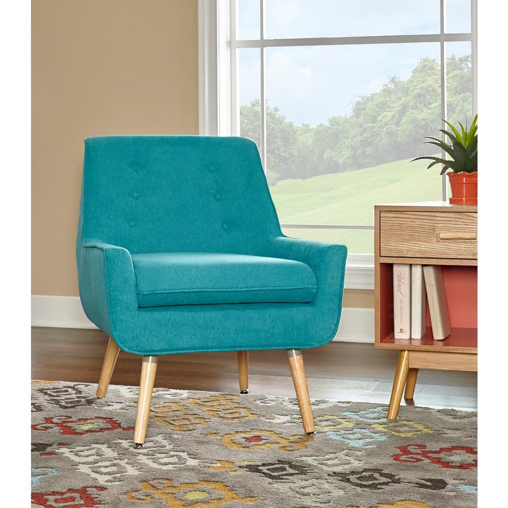 Captivating Trelis Bright Blue Microfiber Arm Chair