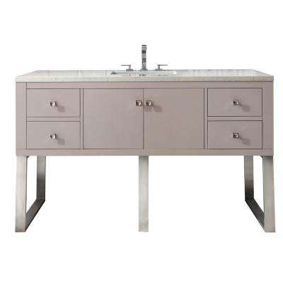 Westlake 60 in. Single Bath Vanity in Mountain Mist with Marble Vanity Top in Carrara White with White Basin