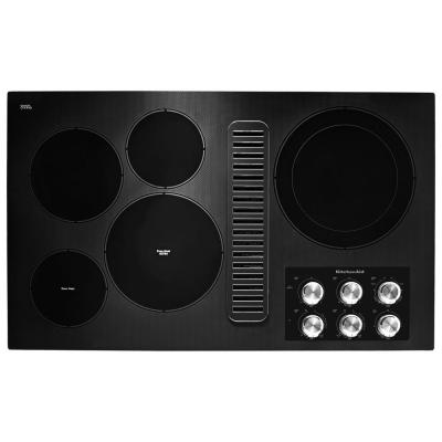 36 in. Radiant Electric Cooktop in Black with 5 Elements and Downdraft Ventilation