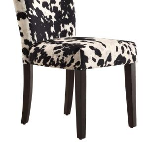 Awesome Homesullivan Whitmire Black Cowhide Fabric Parsons Dining Squirreltailoven Fun Painted Chair Ideas Images Squirreltailovenorg