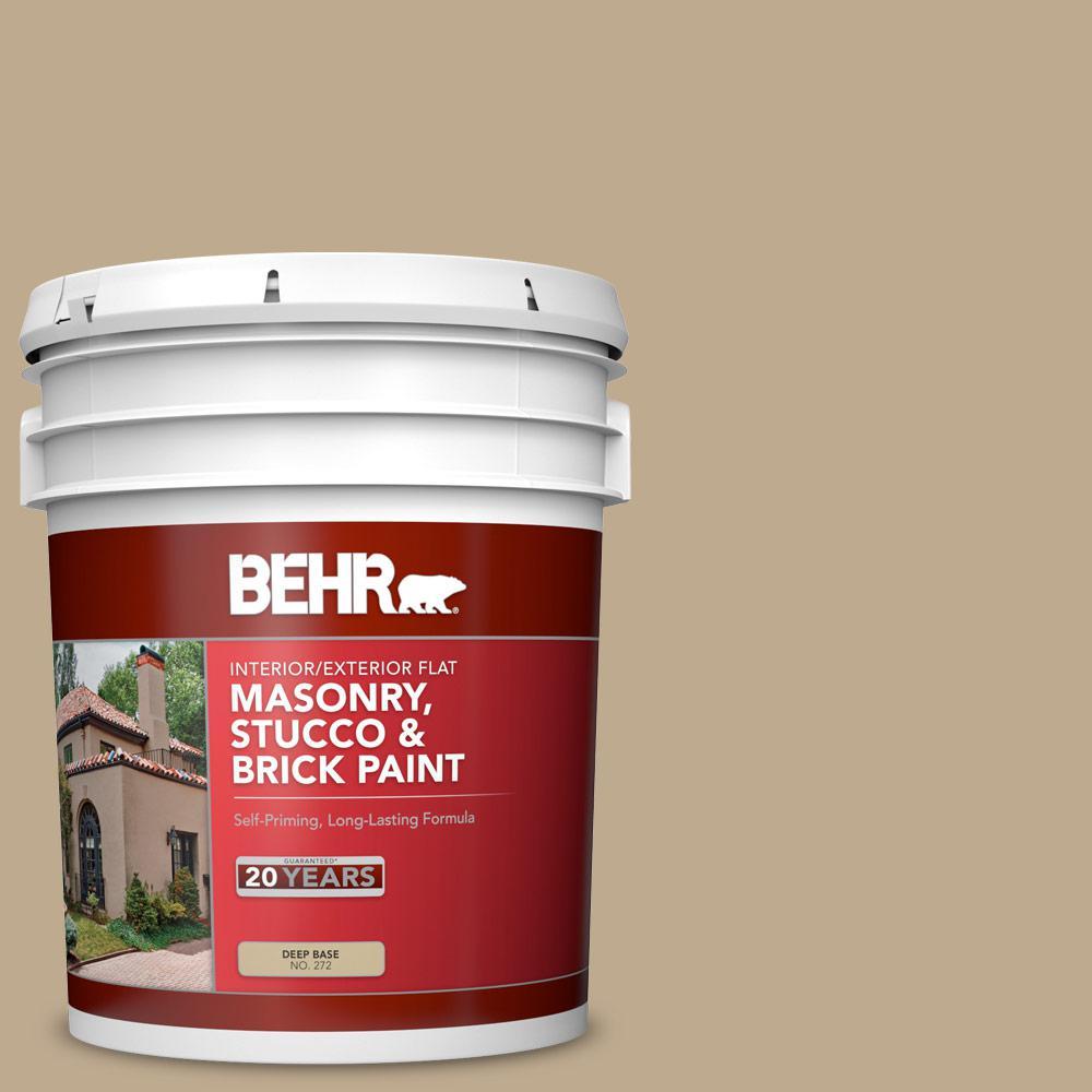 5 gal. #MS-44 Autumn Tan Flat Interior/Exterior Masonry, Stucco and Brick Paint