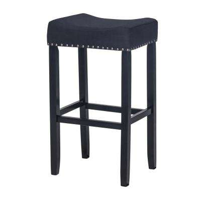 Hylie Nailhead 29 in. Piano Black and Black Cushioned Bar Stool