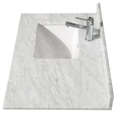 Acclaim 36 in. W x 22 in. D Marble Single Basin Vanity Top in White with White Basin