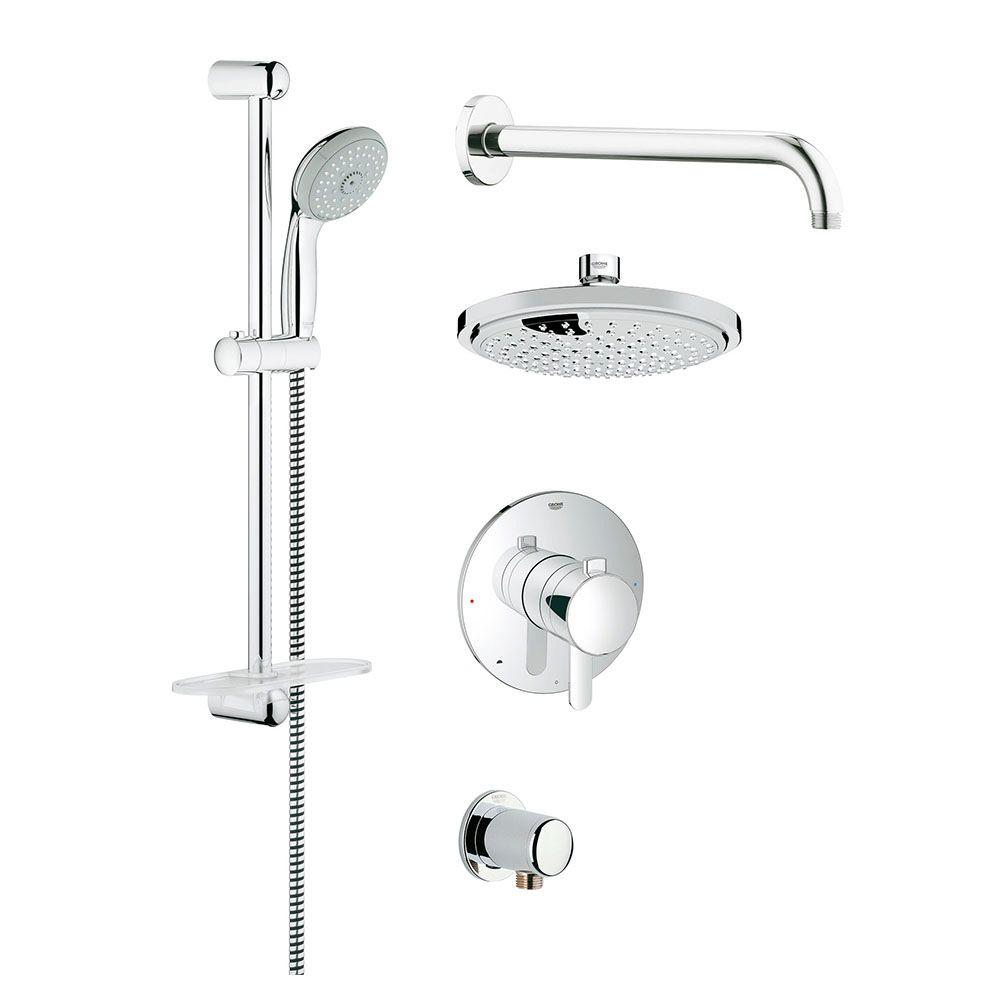 Captivating GROHE GrohFlex Cosmopolitan Shower Set 1 Spray Shower System In StarLight  Chrome
