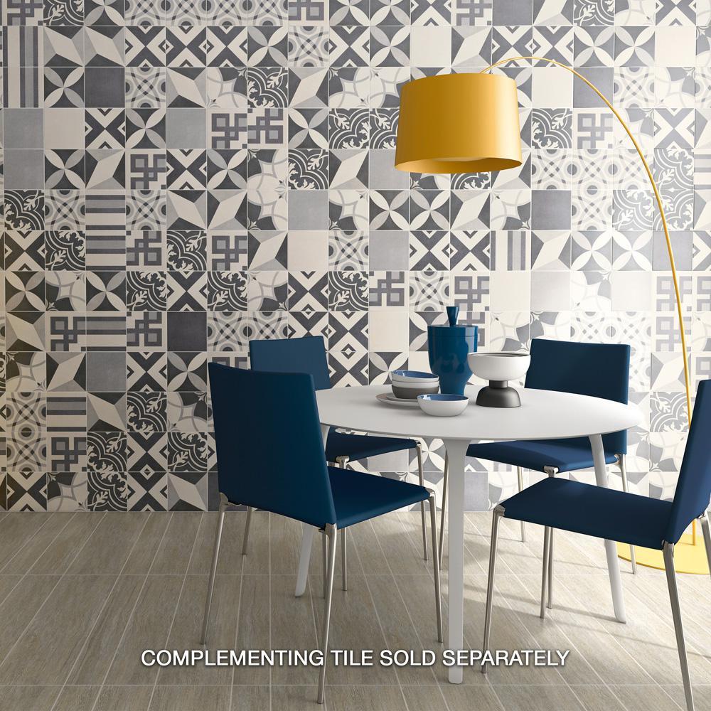 Twenties Frame Encaustic 7-3/4 in. x 7-3/4 in. Ceramic Floor and Wall Tile