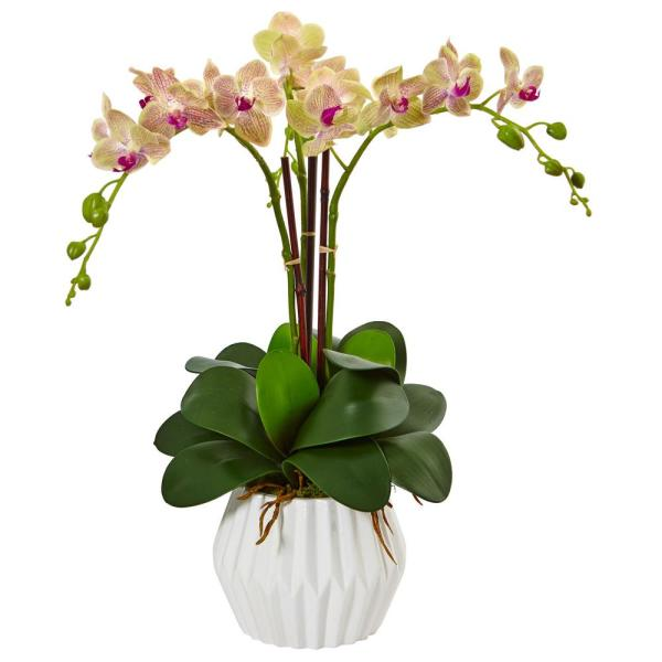 Nearly Natural Indoor Phalaenopsis Orchid Silk Arrangement in White Vase 1489