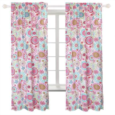 """Flower Power Floral Colorful Bloom Multi-Color Pink Blue Green Orange Poly Cotton Long Window Curtain Panel 63"""""""