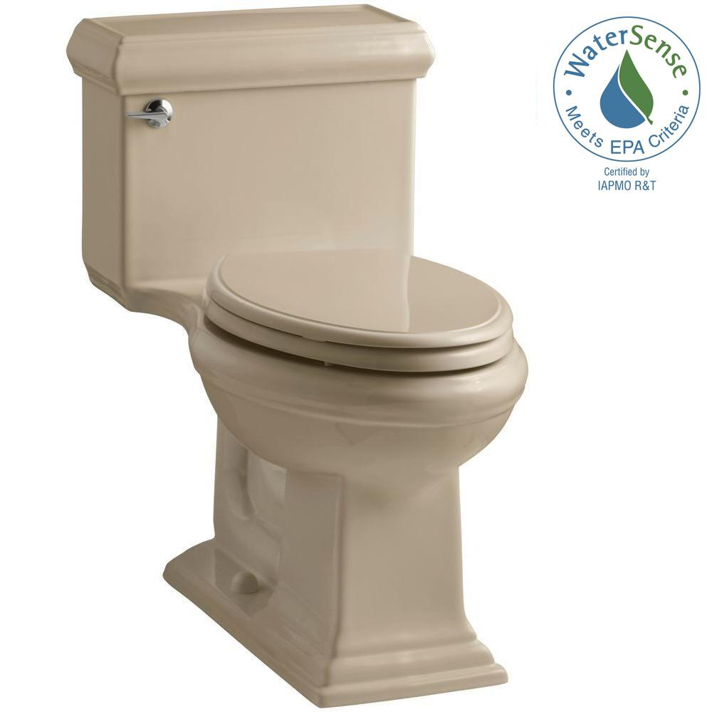 KOHLER Memoris Classic 1-Piece 1.28 GPF Single Flush Elongated Toilet with AquaPiston Flush Technology in Mexican Sand