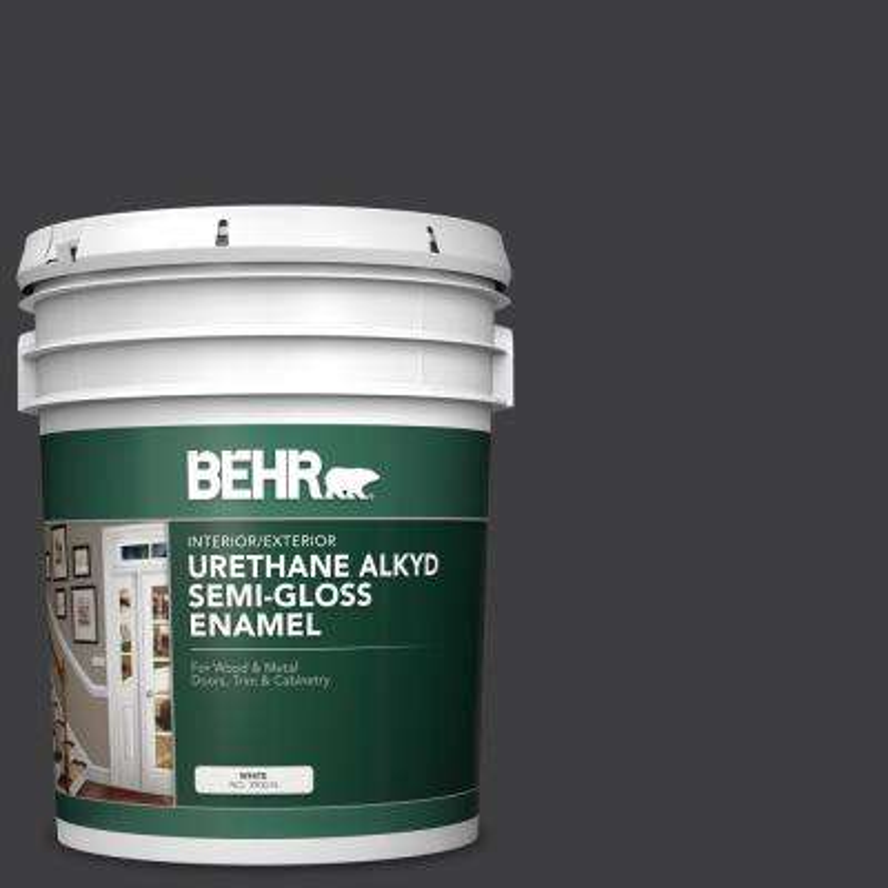 5 gal. #AE-54 Molten Black Urethane Alkyd Semi-Gloss Enamel Interior/Exterior Paint
