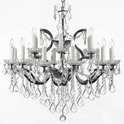 Versailles 18-Light Black Baroque Iron and Crystal Chandelier