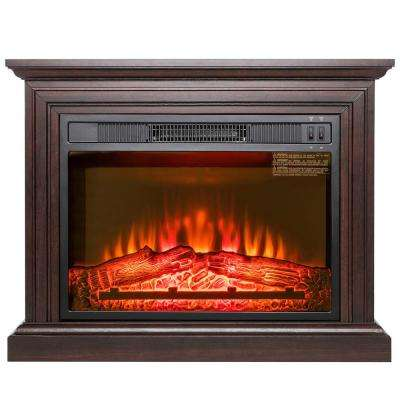 32 in. Freestanding Electric Fireplace Heater in Brown with Wooden Mantel