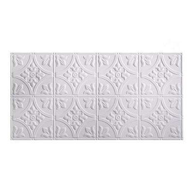 Traditional Style #2 2 ft. x 4 ft. Glue-Up PVC Ceiling Tile in Matte White