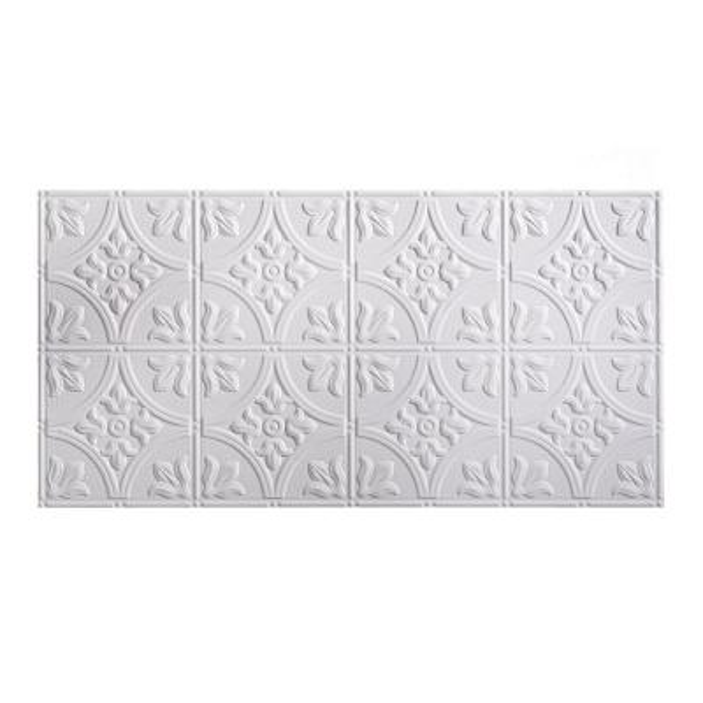 Traditional #2 2 ft. x 4 ft. Glue Up Vinyl Ceiling Tile in Matte White (40 sq. ft.)