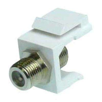 F-Type Silver F/F Feed-Through Snap-In Keystone Jack Insert -White