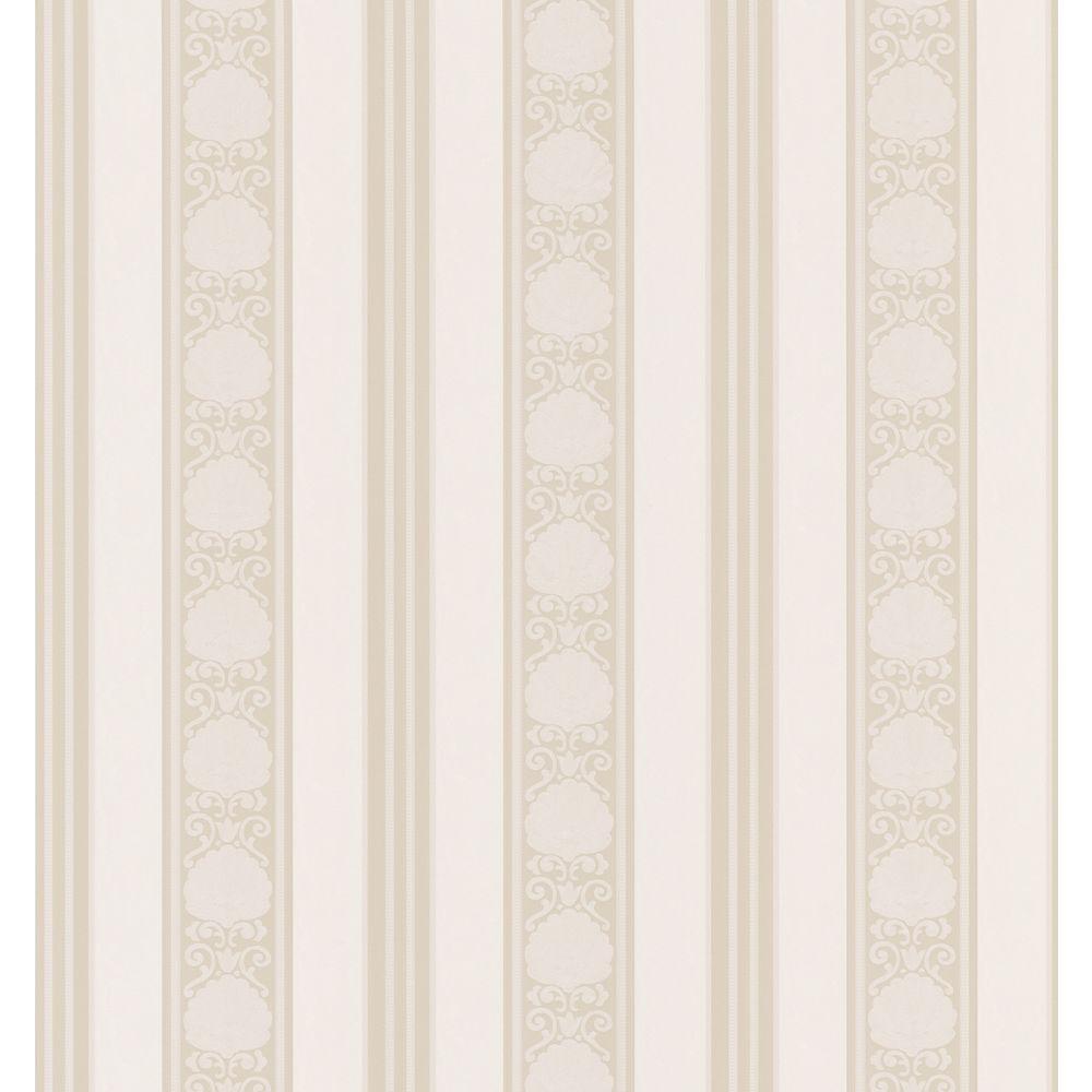 Bath Bath Bath III Neutral Shell Stripe Wallpaper Sample
